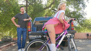 Teen Kali Roses likes to bike with dildo inside her tiny pussy!