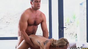 Sexy babe Veronica Leal thresome fuck in the kitchen!