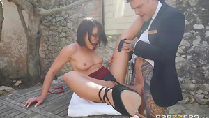 Dirty young babe Adriana Chechik fucked by the hotel's maitre!