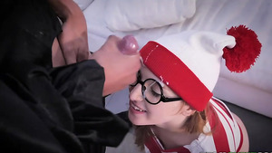 Daddy fuck ginger stepdaughter Cleo Clementine and cums on her glasses!