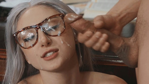 Fuck sexy schoolgirl Skylar Vox fucked in library and cum on her cute face!