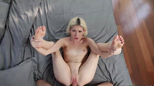 Blonde tiny girl Jessie Saint gets cock in extra tight pussy