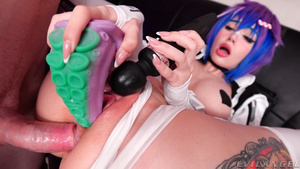 Purple Bitch anal with octopus tentacle in her pussy - Gamer Project Melody porn.